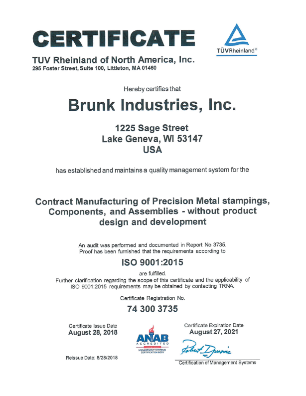 Brunk Quality Certifications
